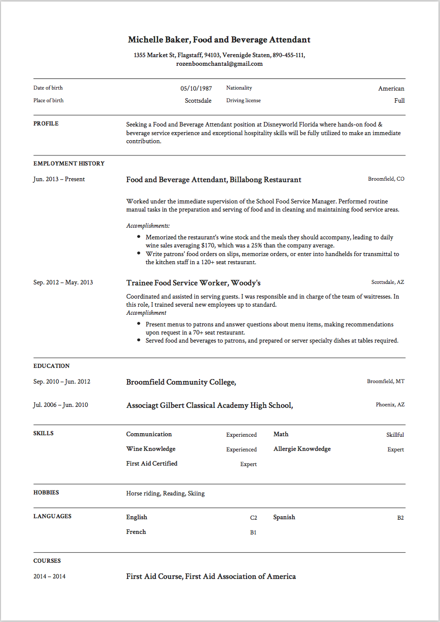 Food and Beverage Attendant Resume Example