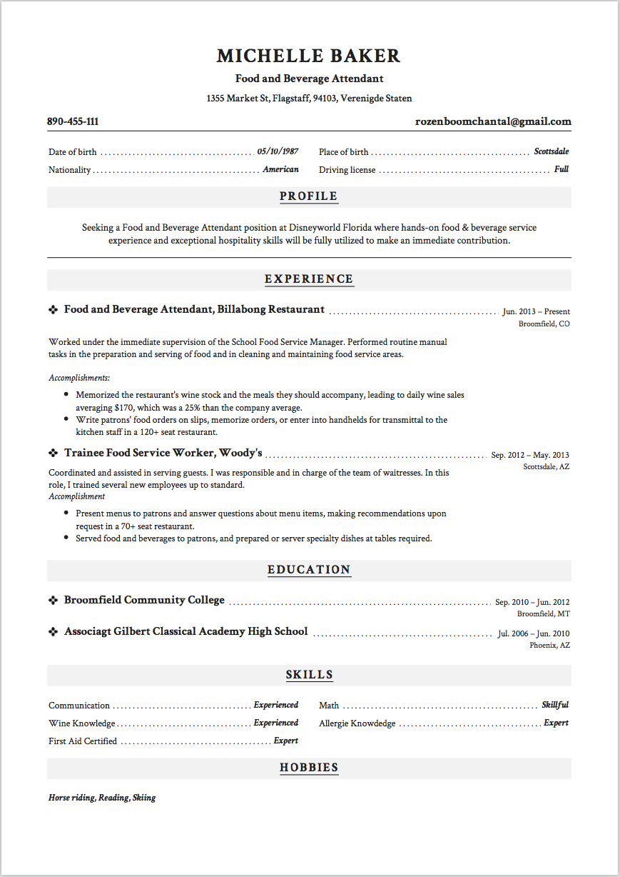 Food and Beverage Attendant Resume Sample 4