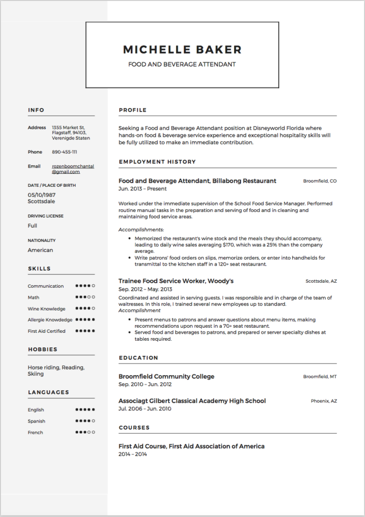 Food and Beverage Attendant Resume Sample 5