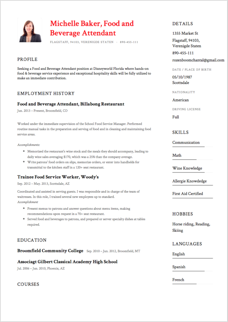 Food and Beverage Attendant Resume Sample 6