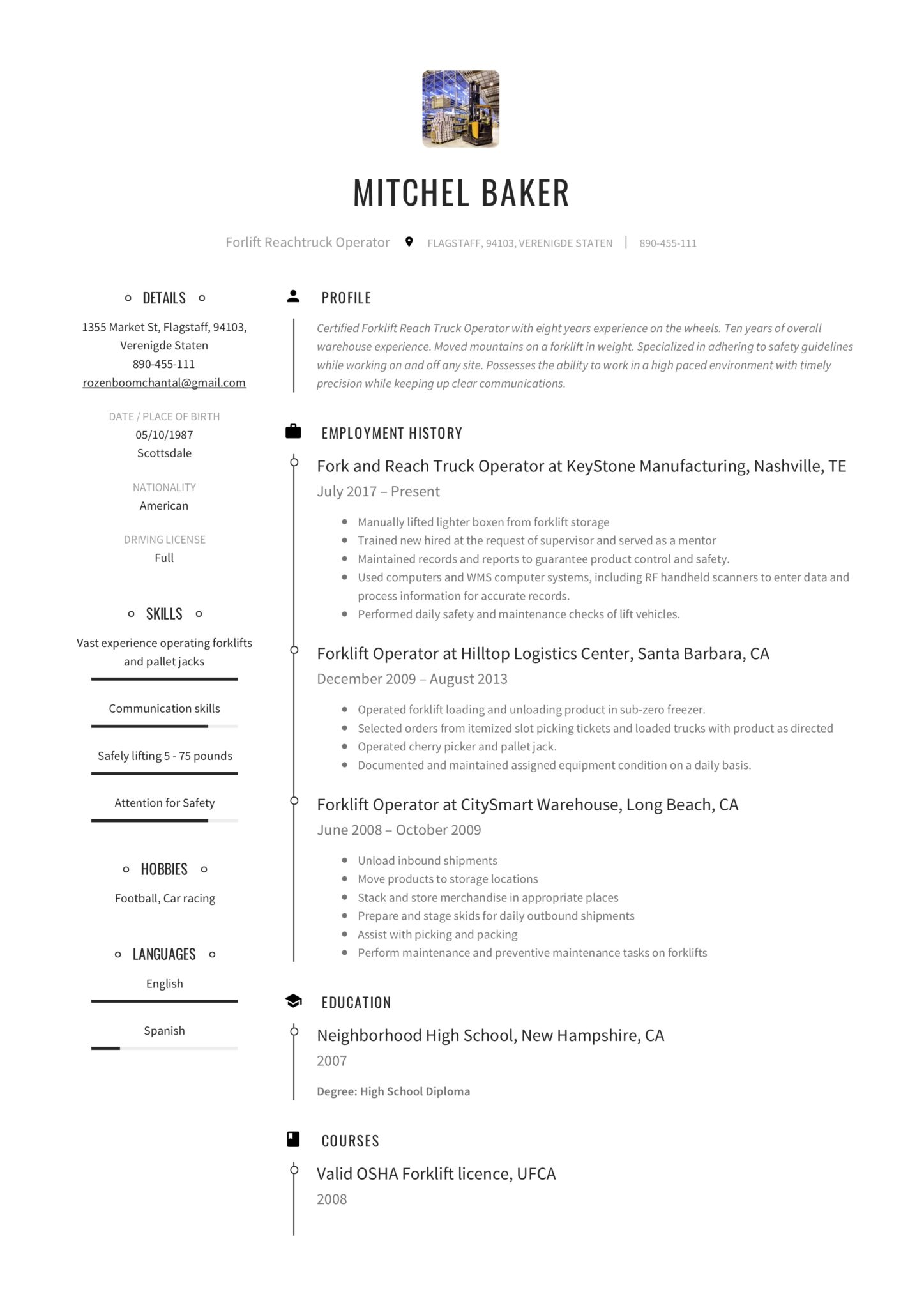 Resume Forklift Operator Amp Writing Guide Templates Pdf