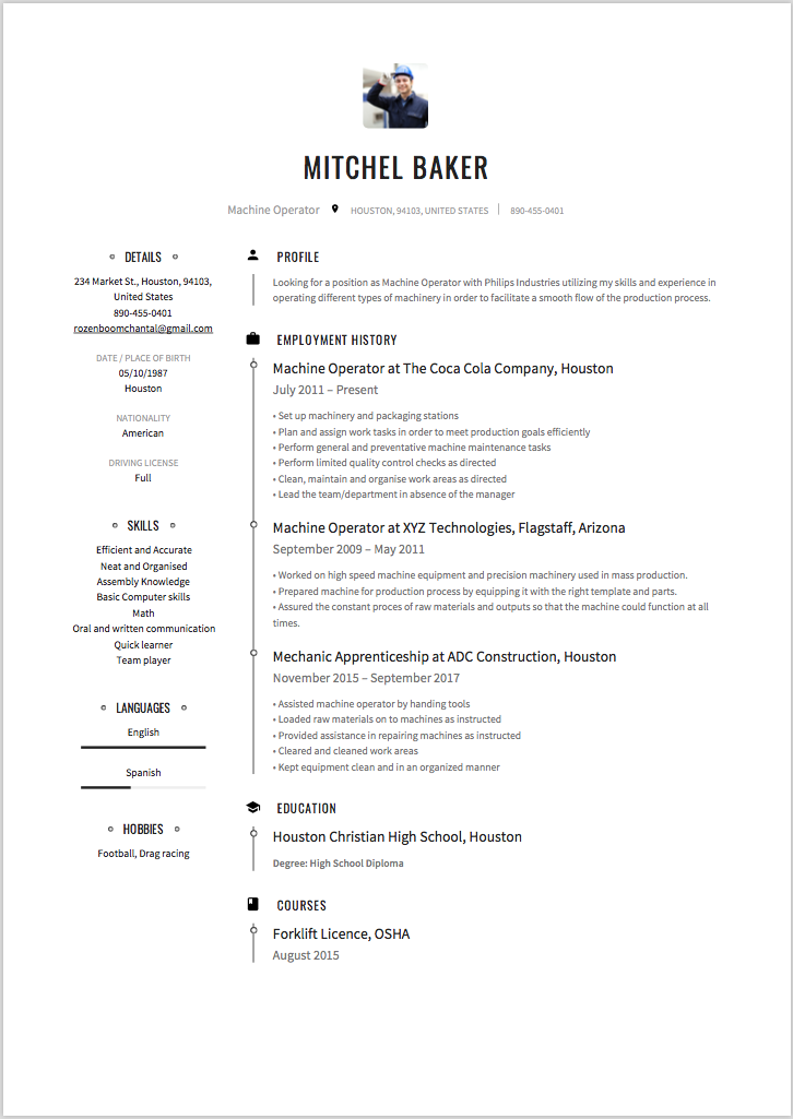 Machine Operator Resume Amp Writing Guide 12 Templates 2020