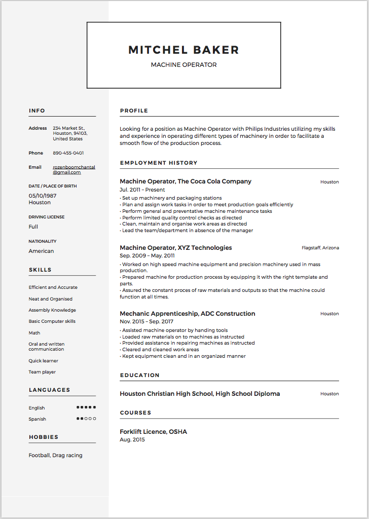 machine operator resume  u0026 writing guide