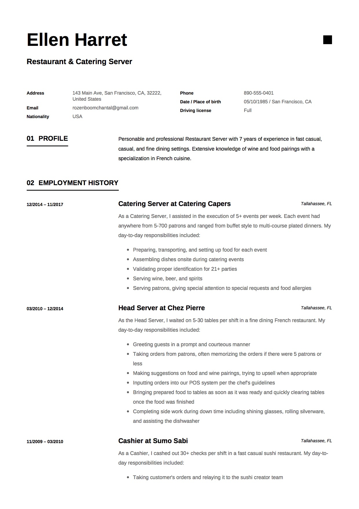 Server Resume Amp Writing Guide 17 Examples Free