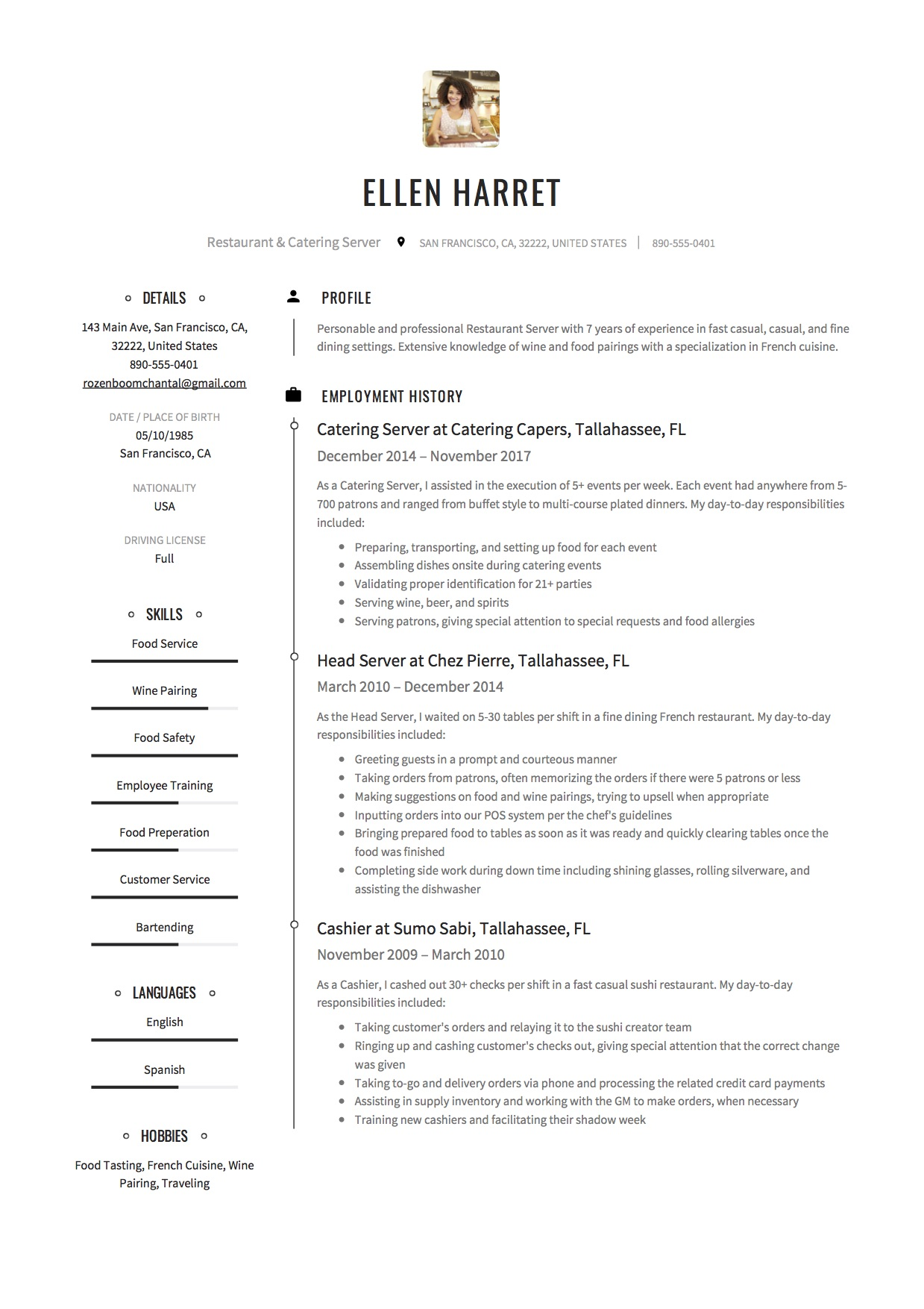 server resume  u0026 writing guide   17 examples  free downloads