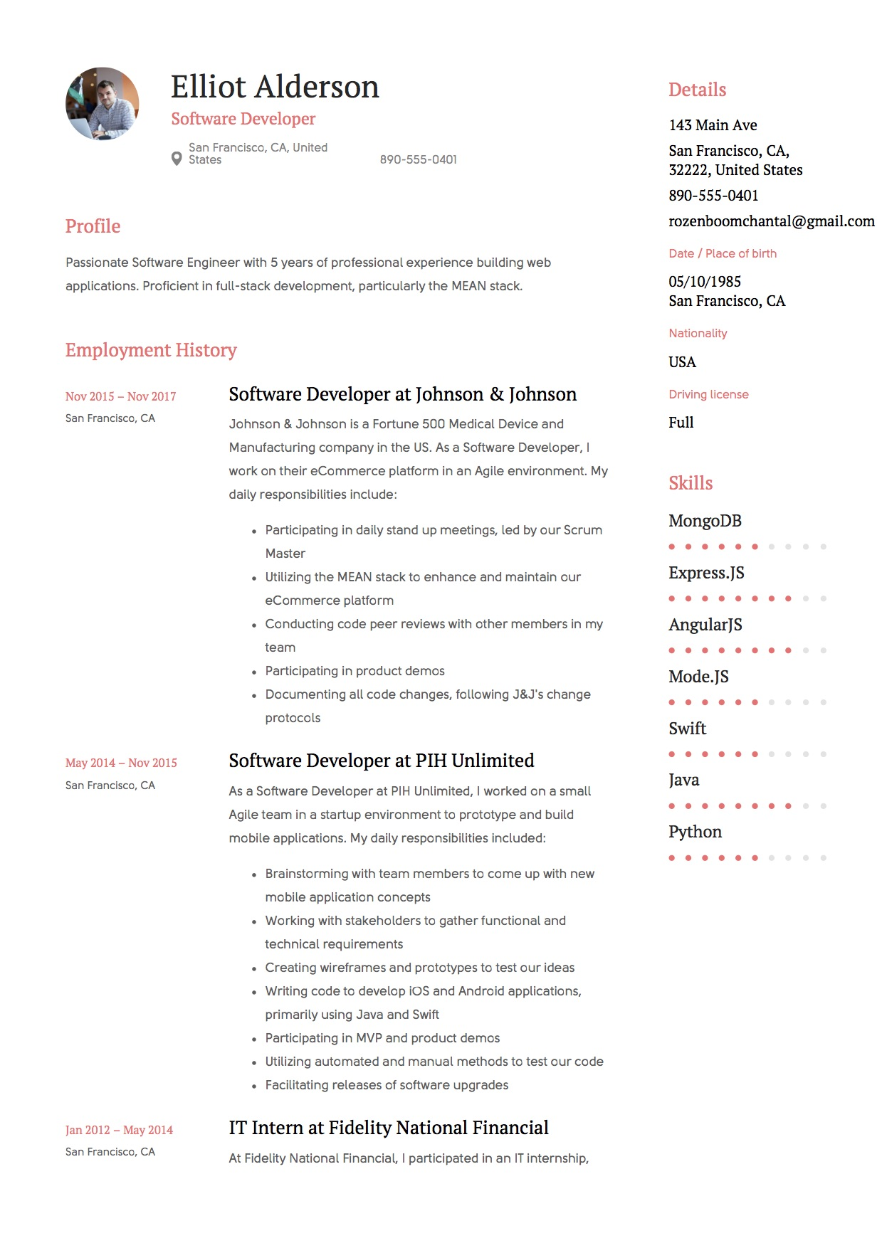 Guide Software Developer Resume 12 Samples Word
