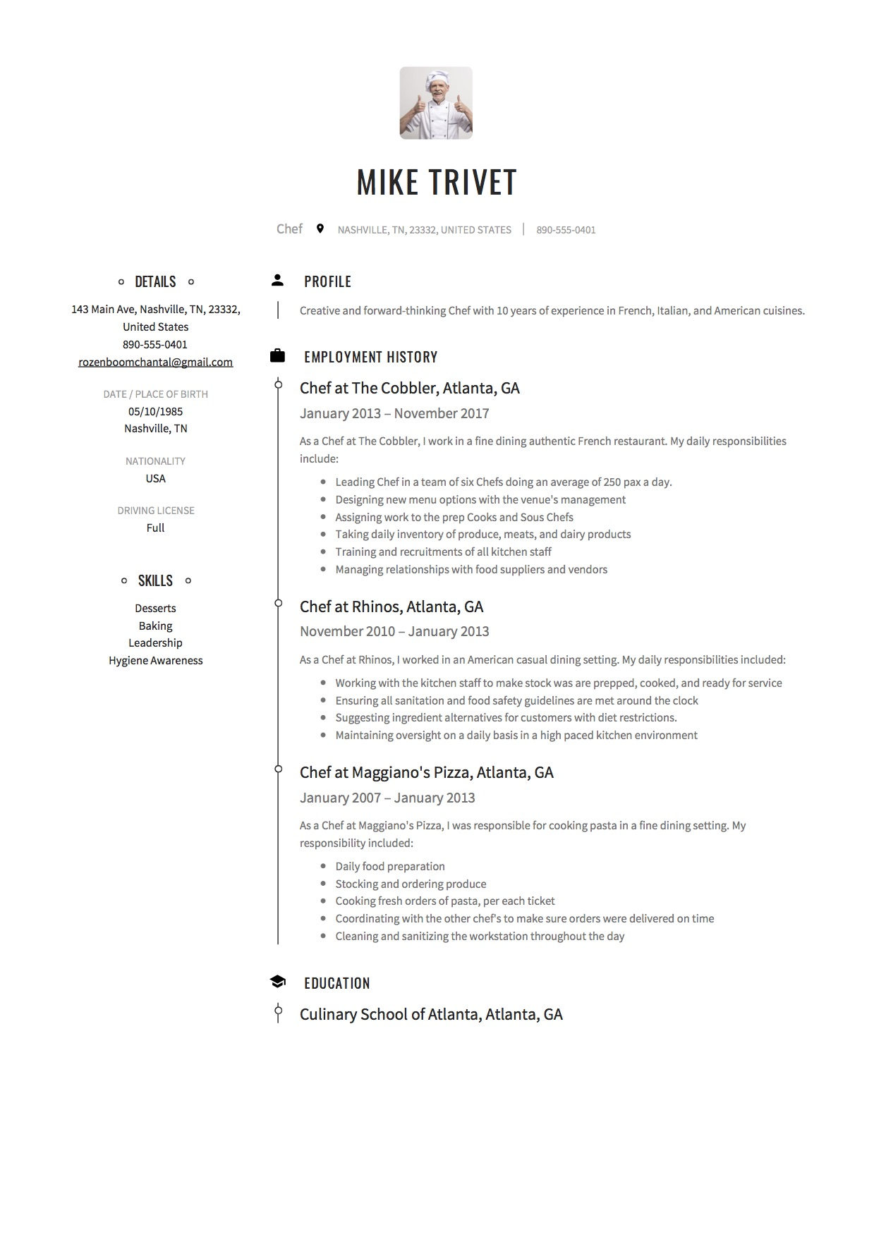 chef resume  u0026 writing guide   12 templates    free
