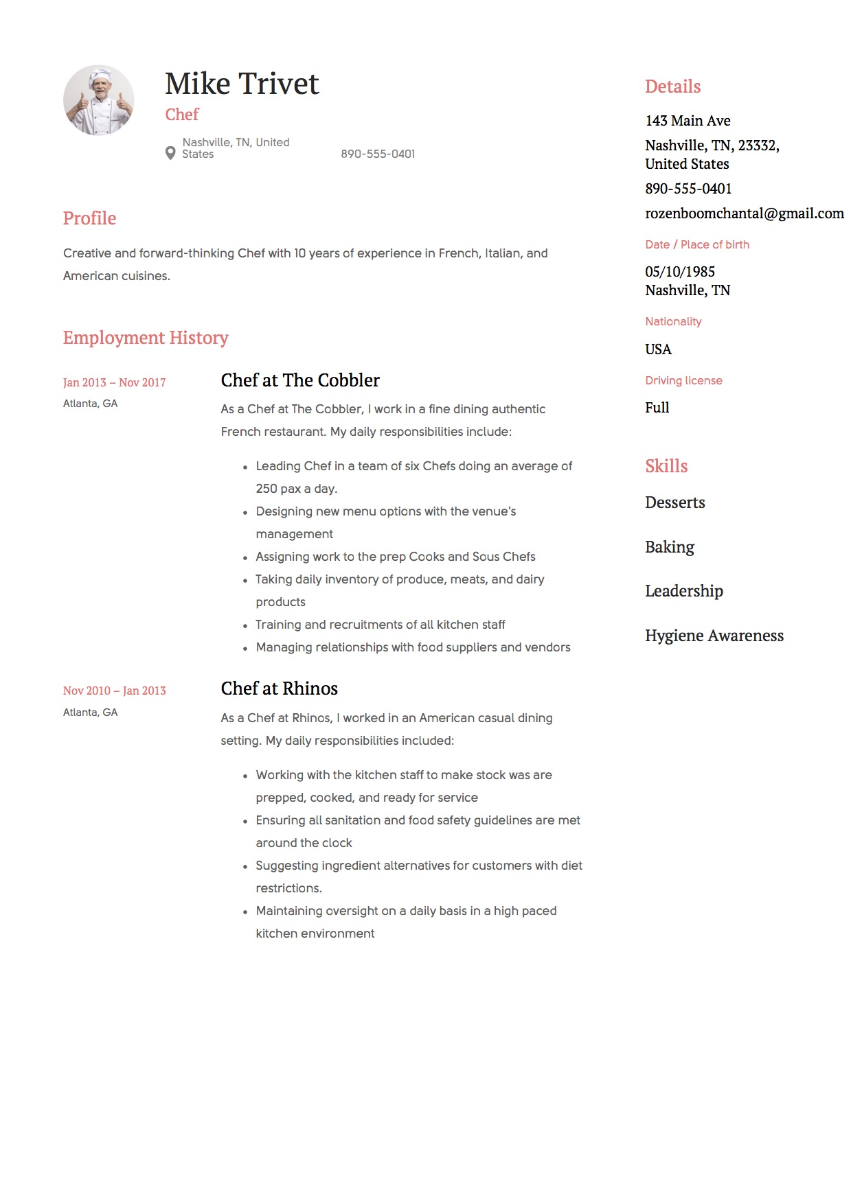 Chef Resume Amp Writing Guide 12 Templates Free