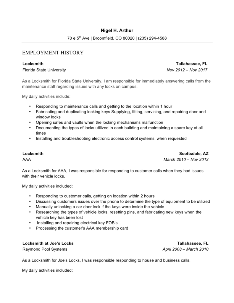 Locksmith Resume Sample Chronological Word
