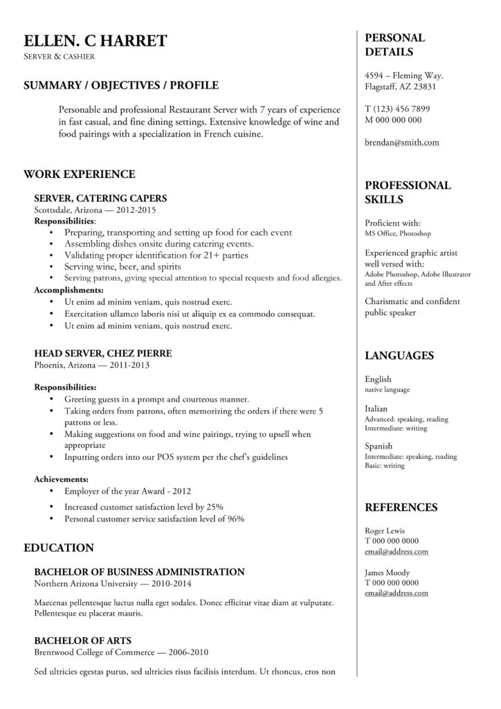 Chronological word resume template