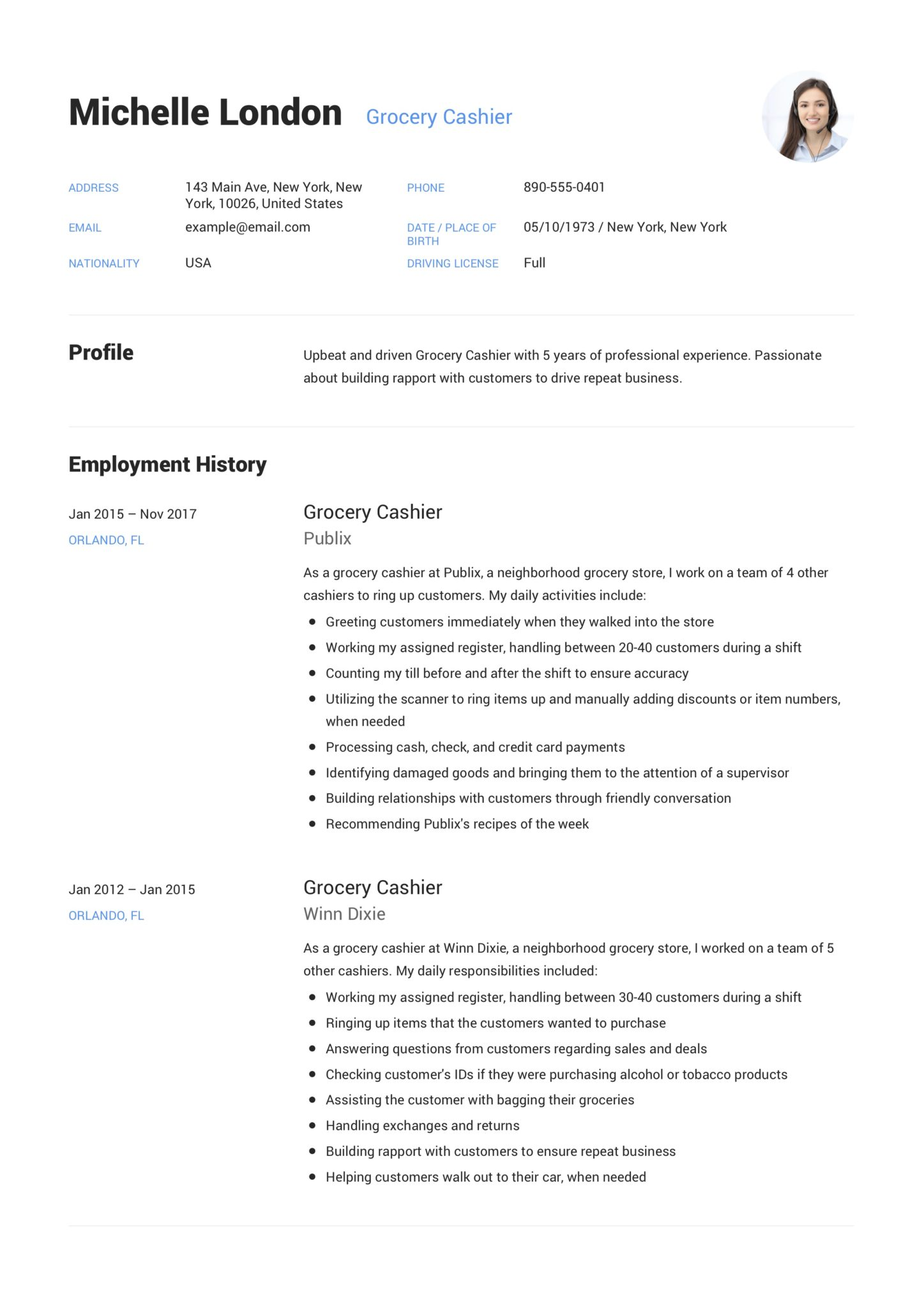 Grocery Cashier Resume Guide 12 Example Pdf S 2020