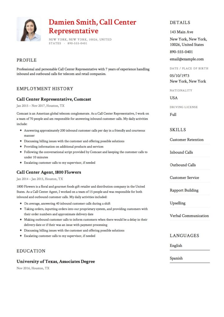 Call Center Representative Resume Example