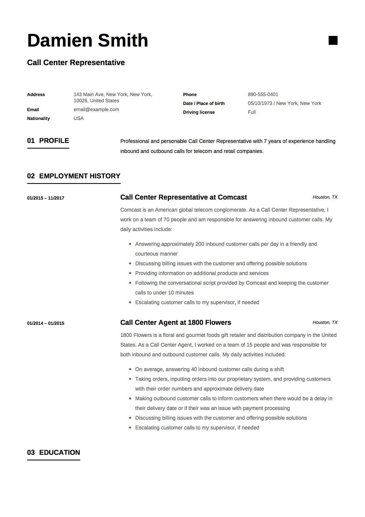 Call Center Representative Resume Sample