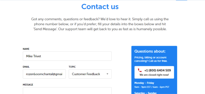 The contact page of resume.io