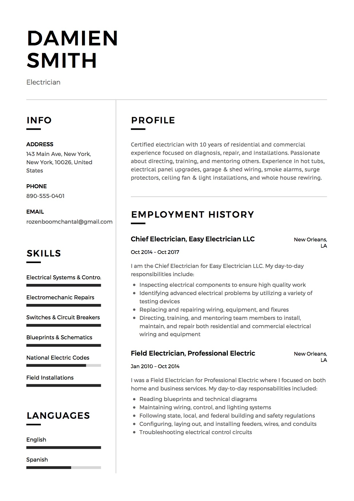 Modern Electrician Resume