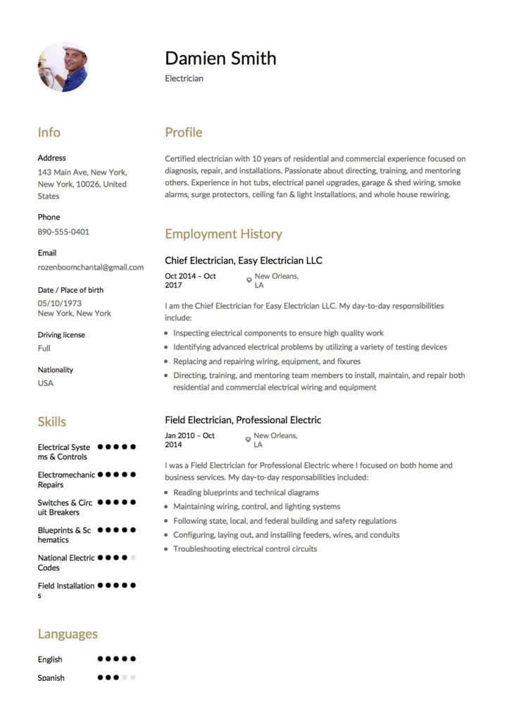 Damien Smith - Resume Electrician Example
