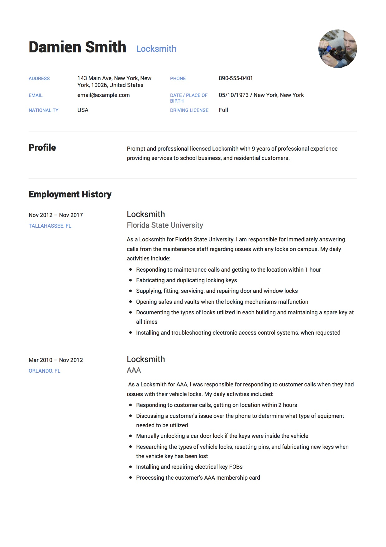 Locksmith Resume with photo