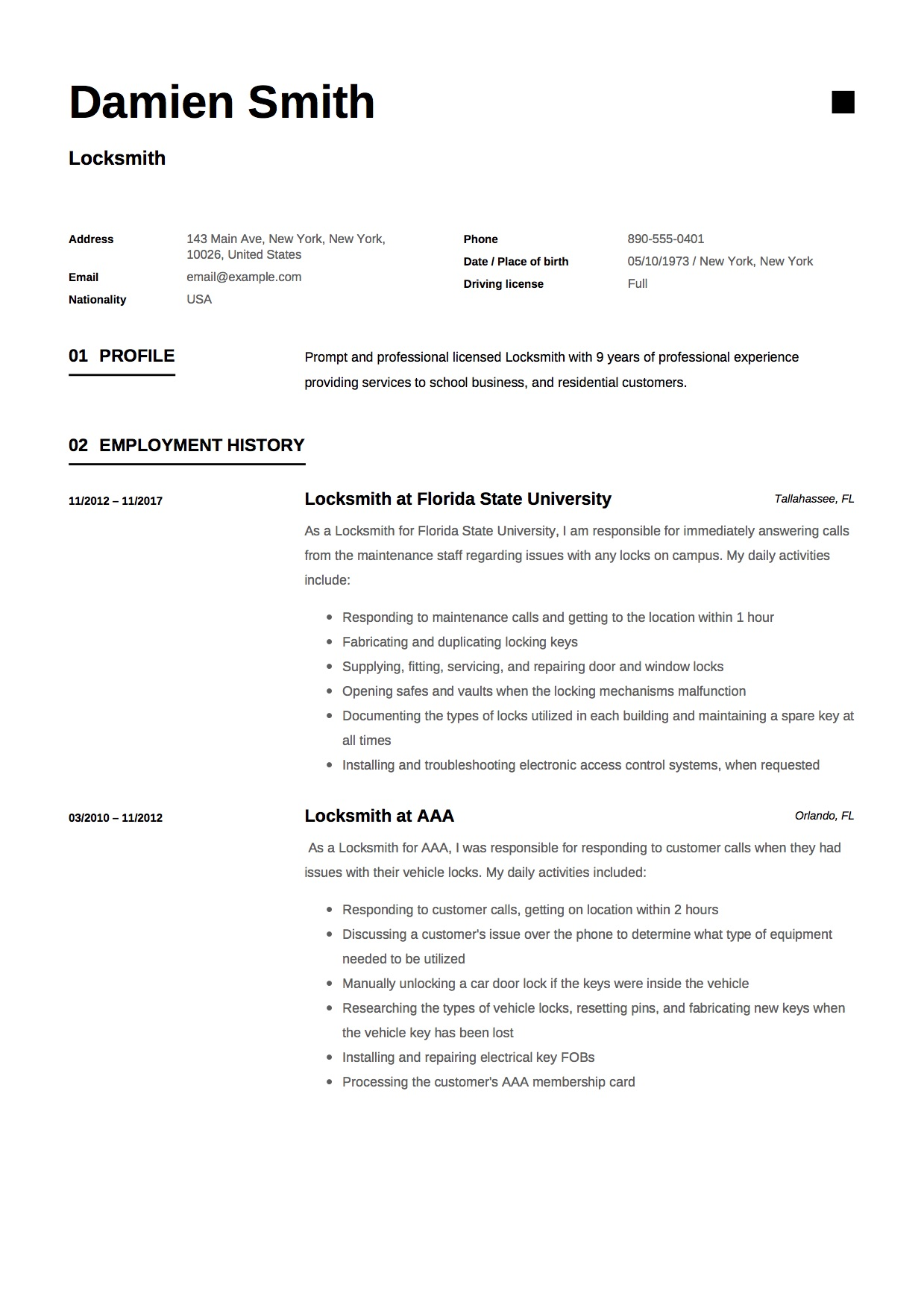 Modern Black and white Locksmith resume