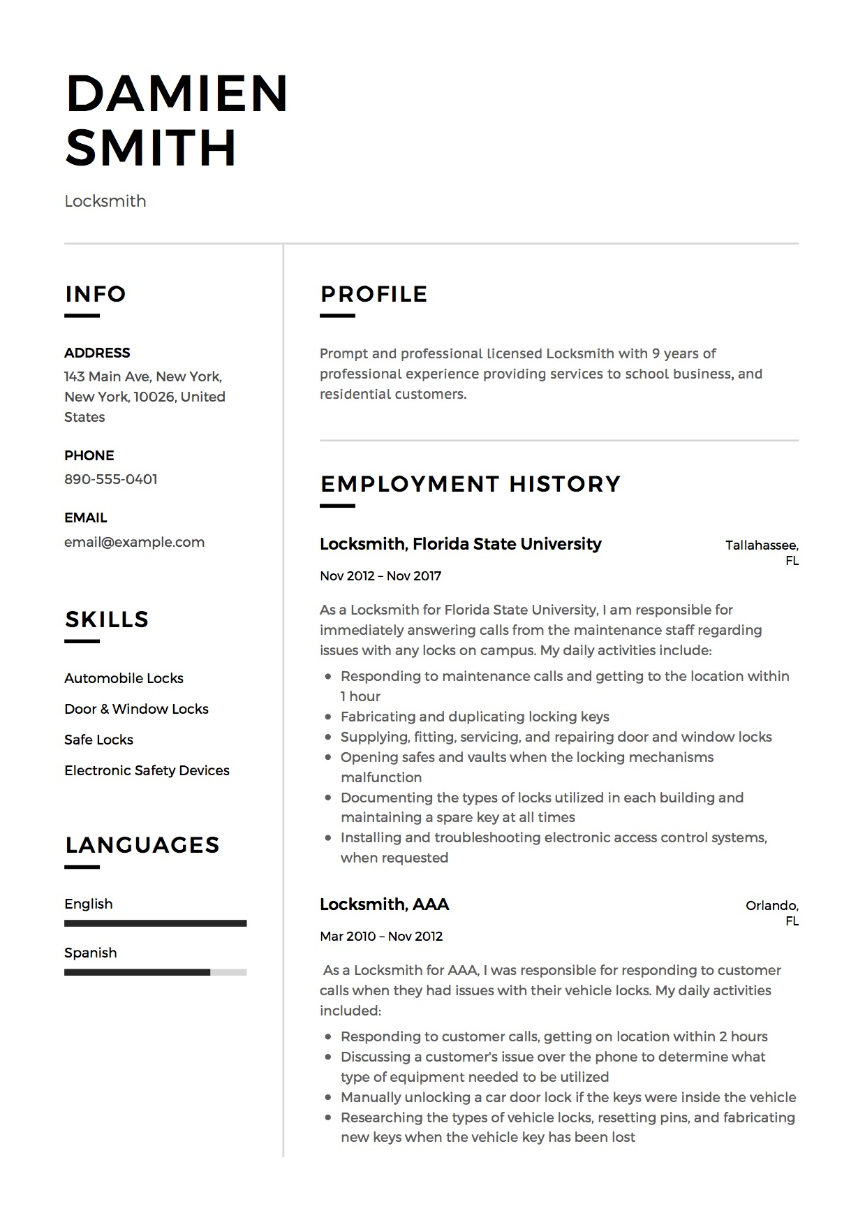 Modern Locksmith Resume Example
