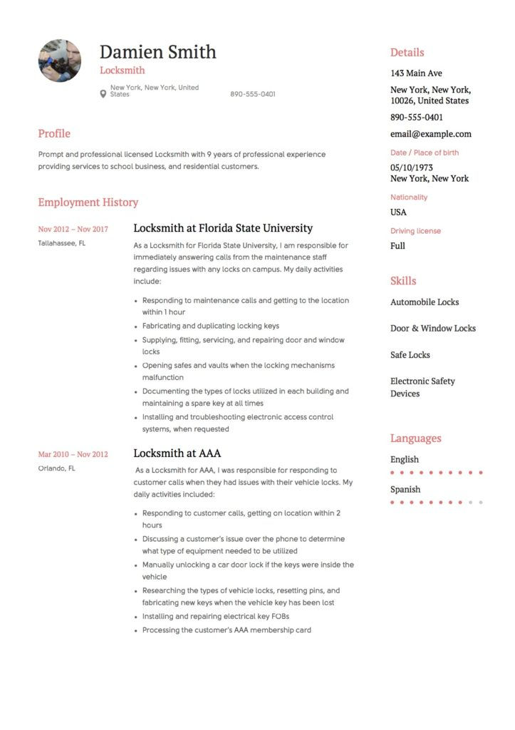 Damien Smith Resume Locksmith