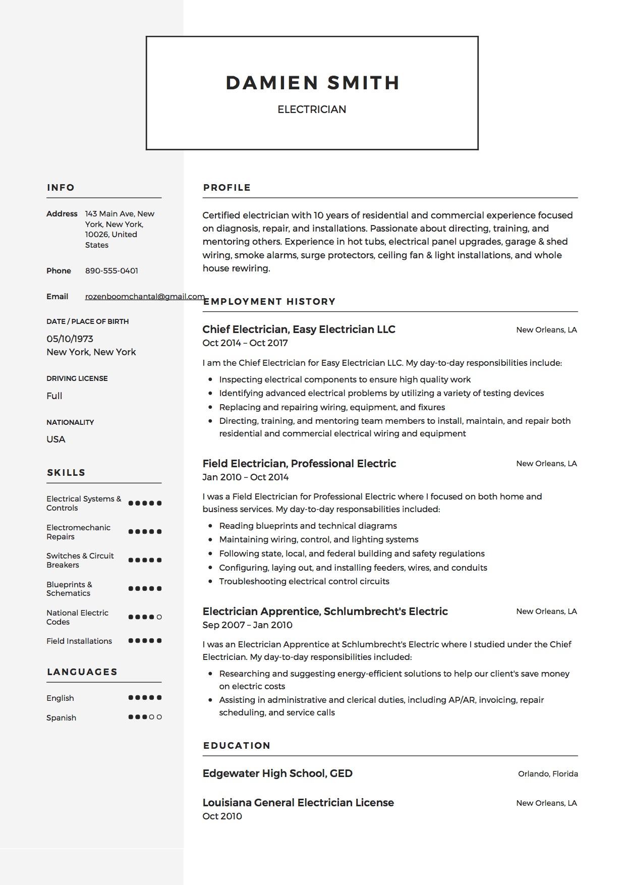 Guide Electrician Resume Samples 12 Examples Pdf Word 2020