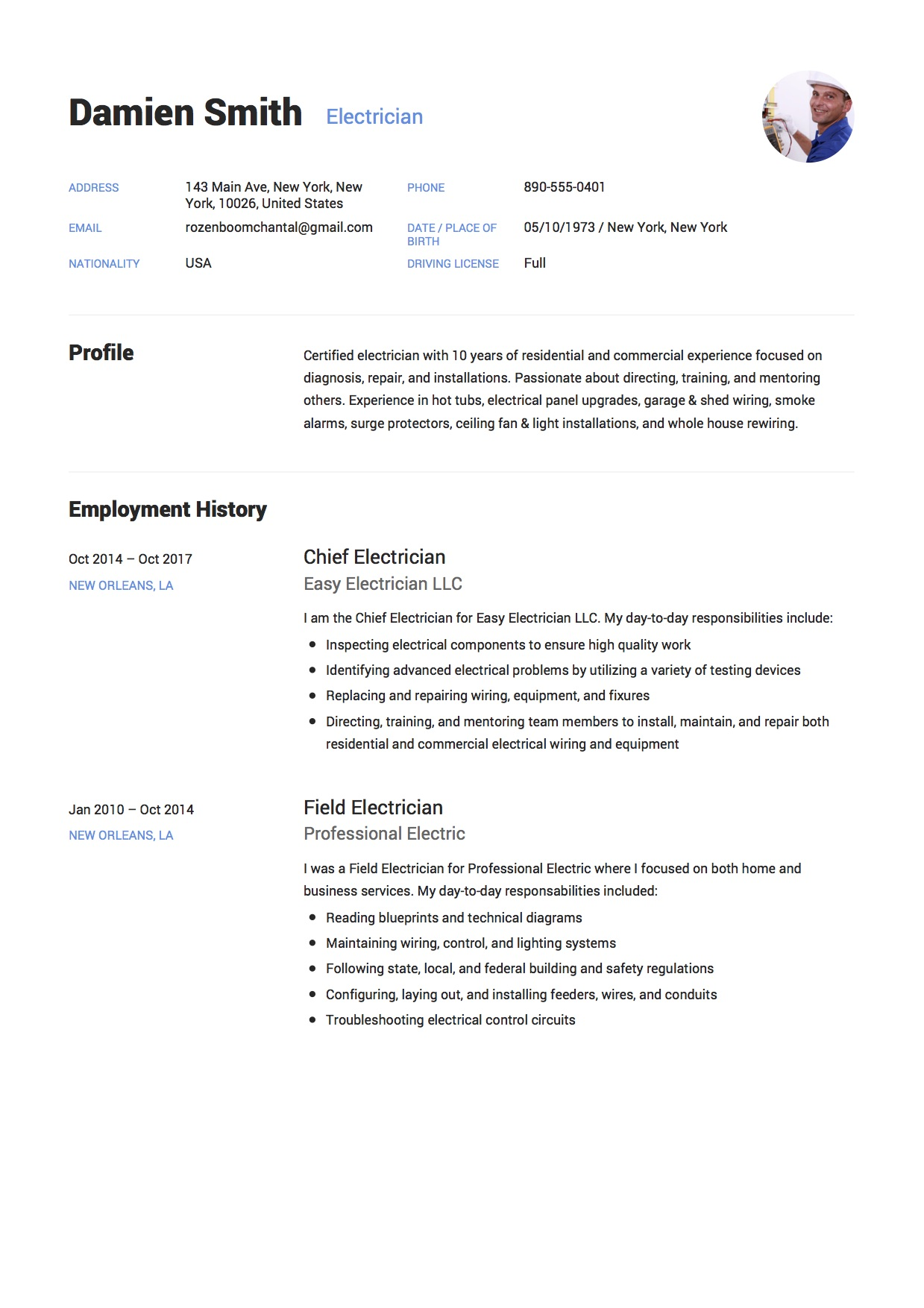 Example Electrician Resume