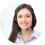 Pretty girl smiling with a headset on