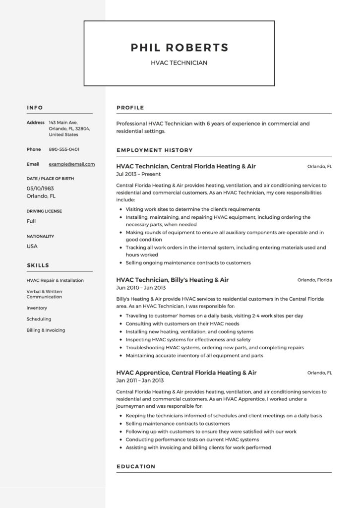 HVAC Technician Resume Example