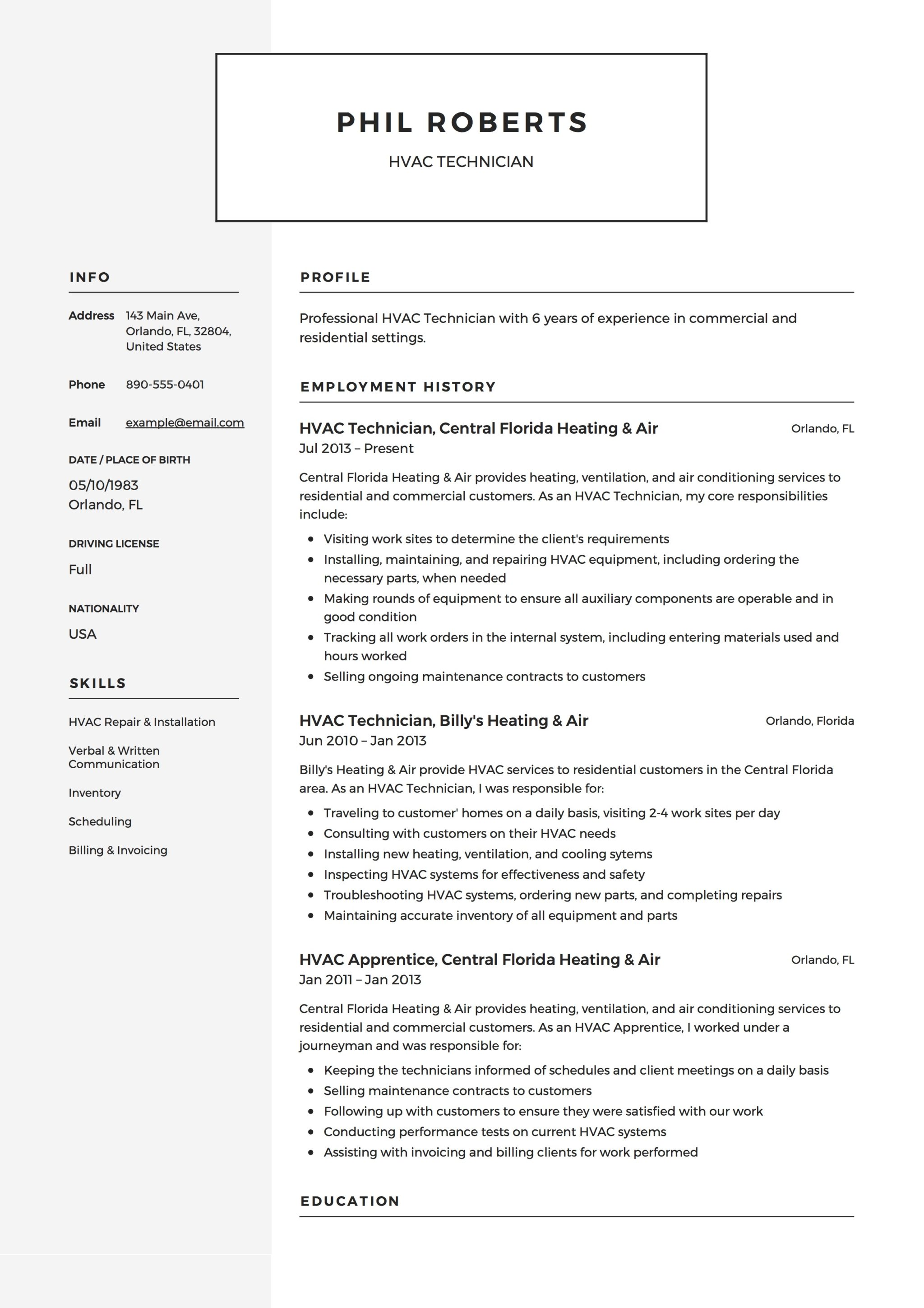 Modern HVAC Technician Resume Example