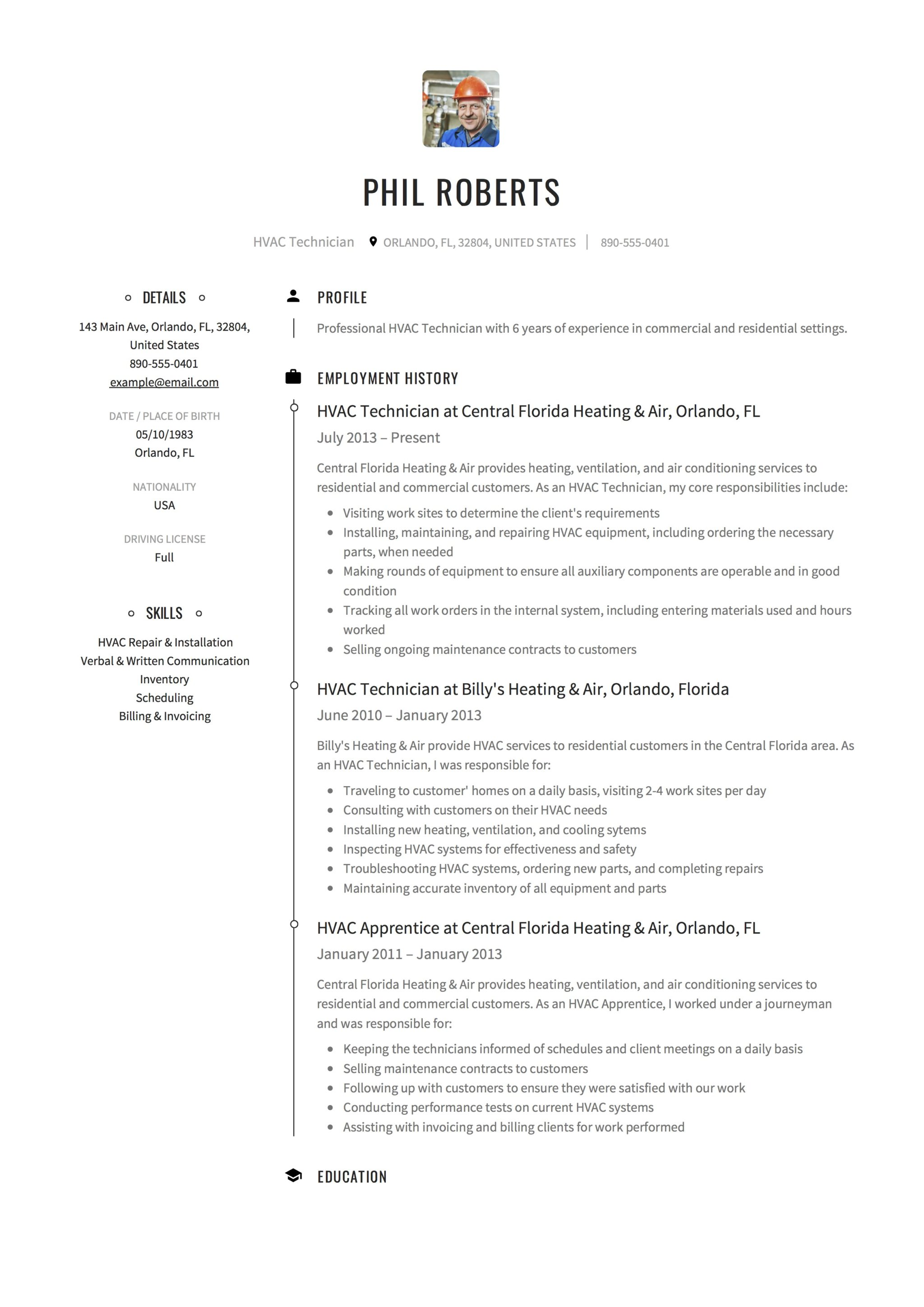 Creative HVAC Technician Resume