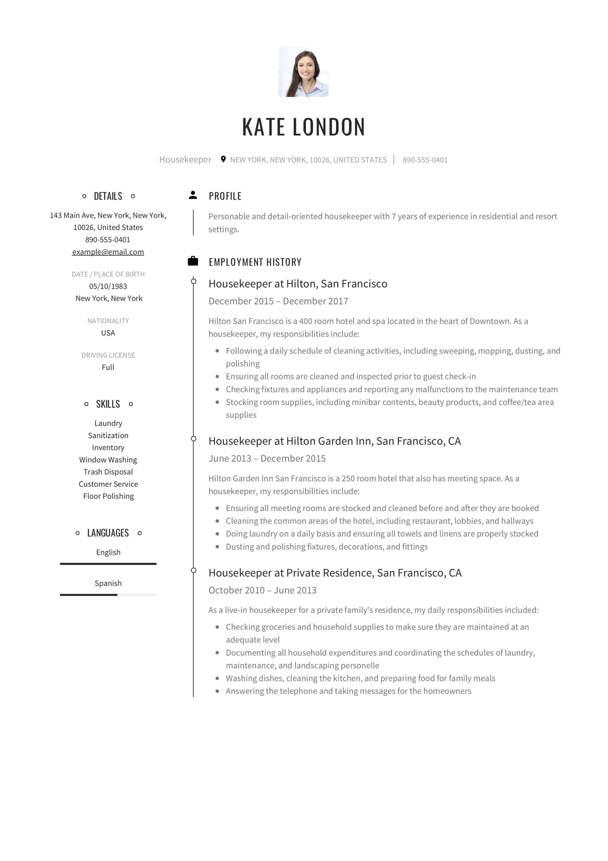 Resume Guide Housekpeer 12 Resume Samples Pdf 2020