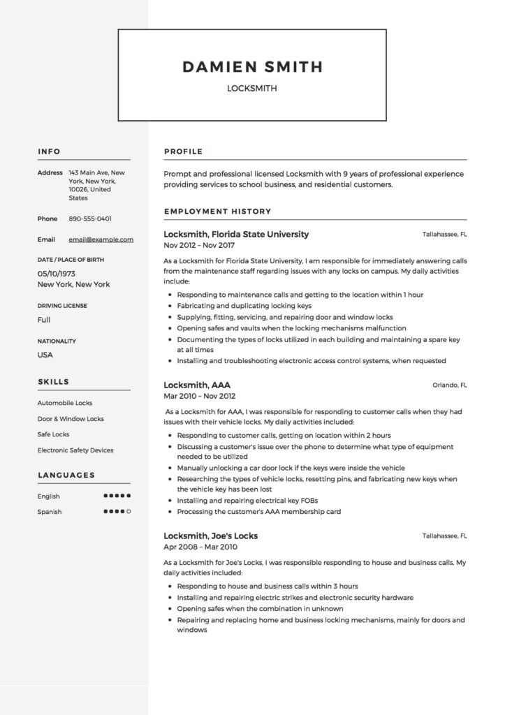 Locksmith Resume Template