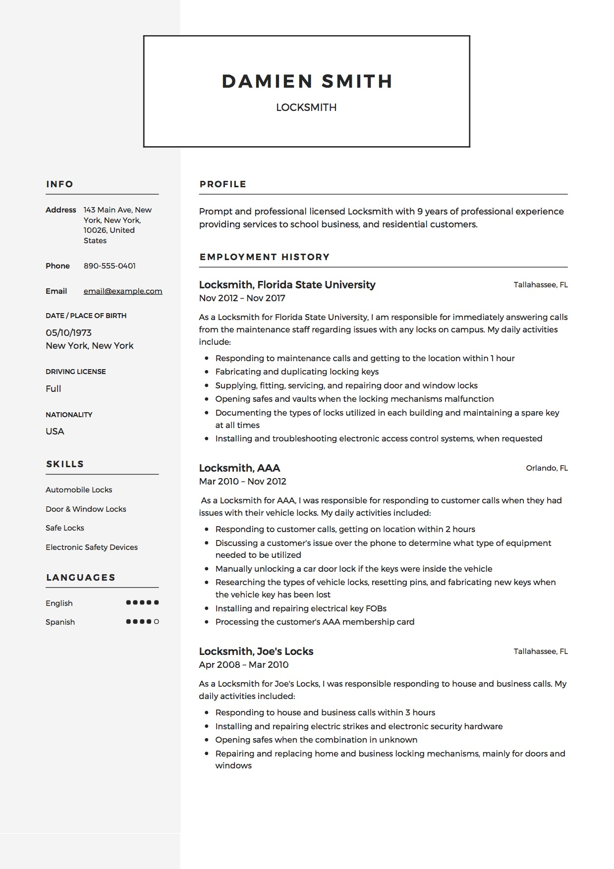 Modern Locksmith Resume