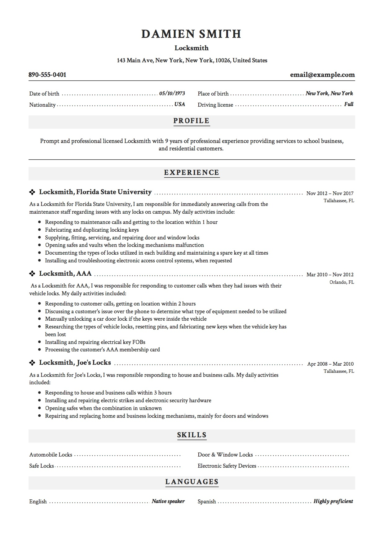 Professional Locksmith Resume