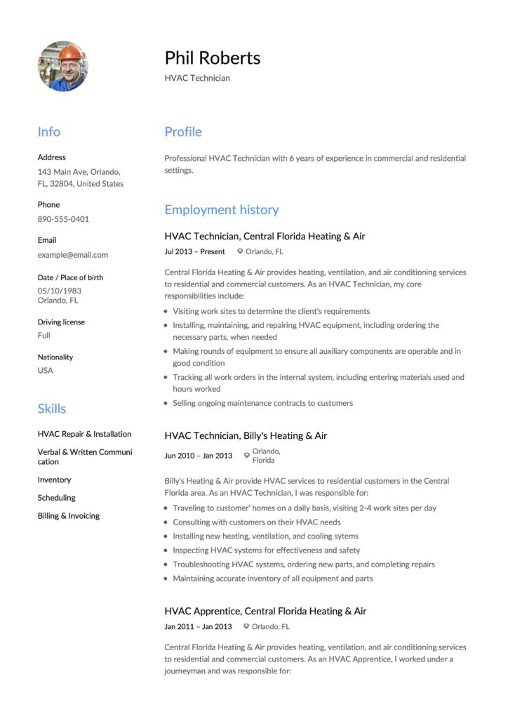 Phil Roberts - Resume - HVAC Technician