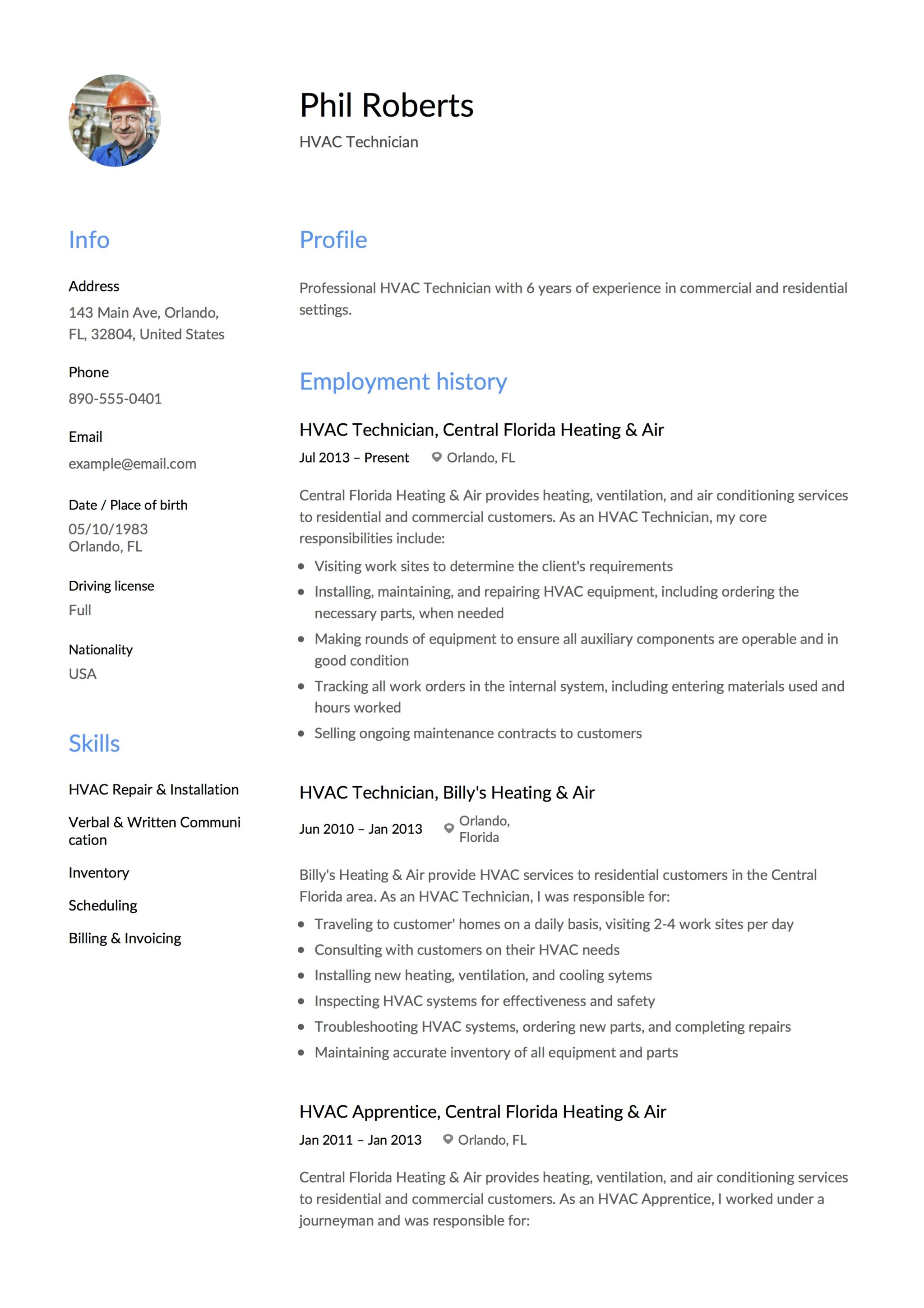 Photo Resume HVAC Technician