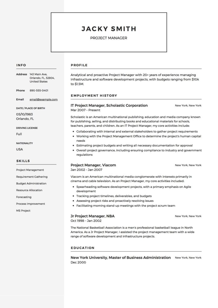 Modern Project Manager Example Resume