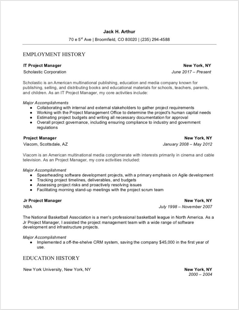 Sample Resume Project Manager Word