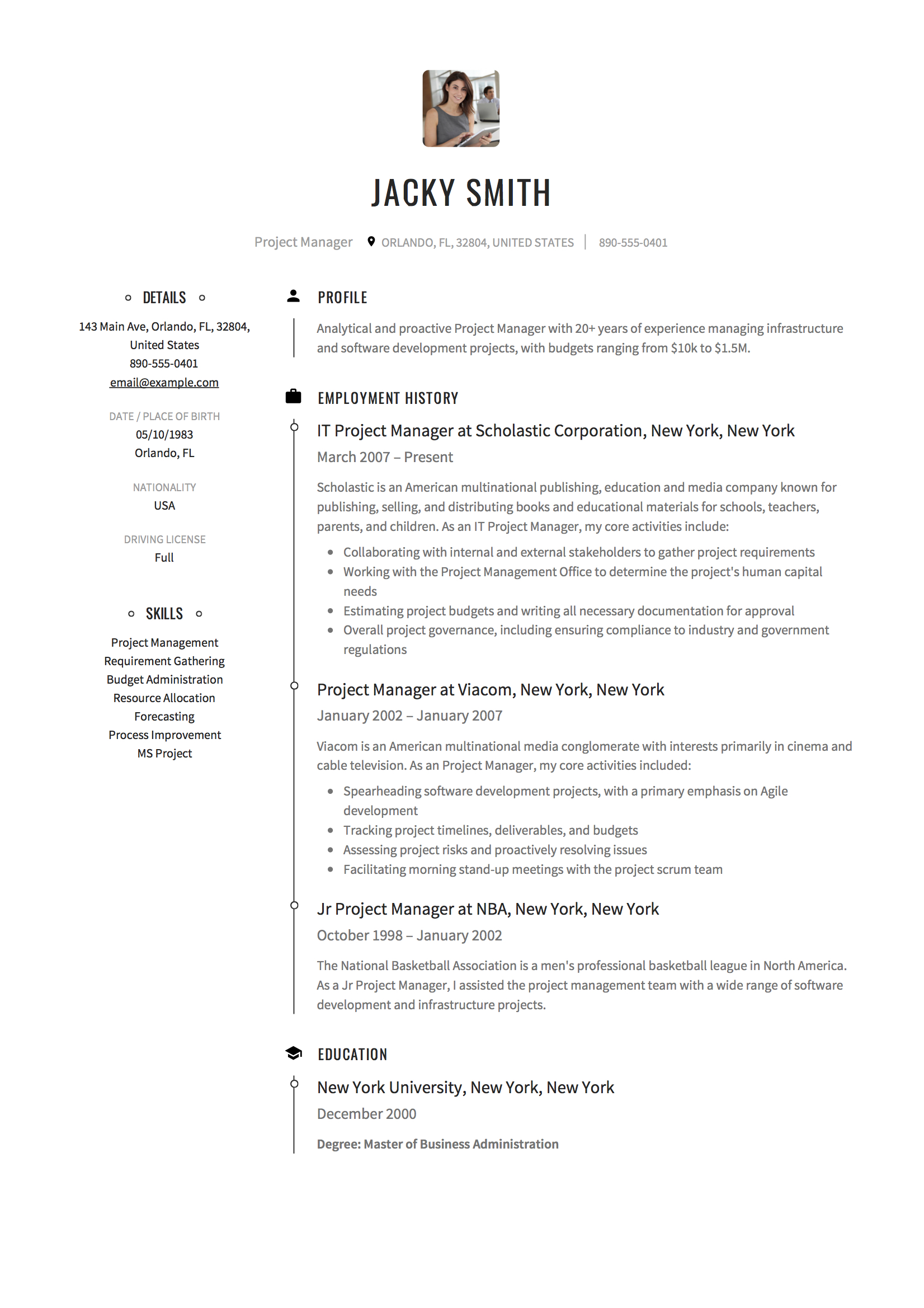 20 Project Manager Resume Examples Full Guide Pdf Word 2020