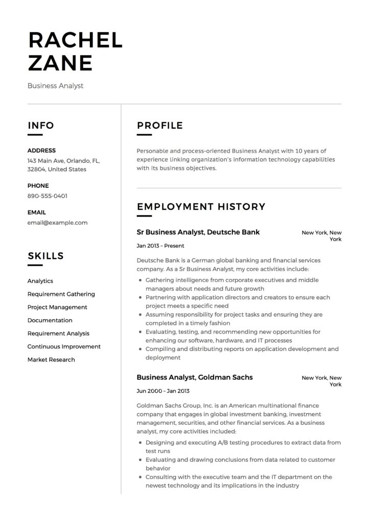 Business Analyst Resume Guide 12 Templates Pdf Free Downloads