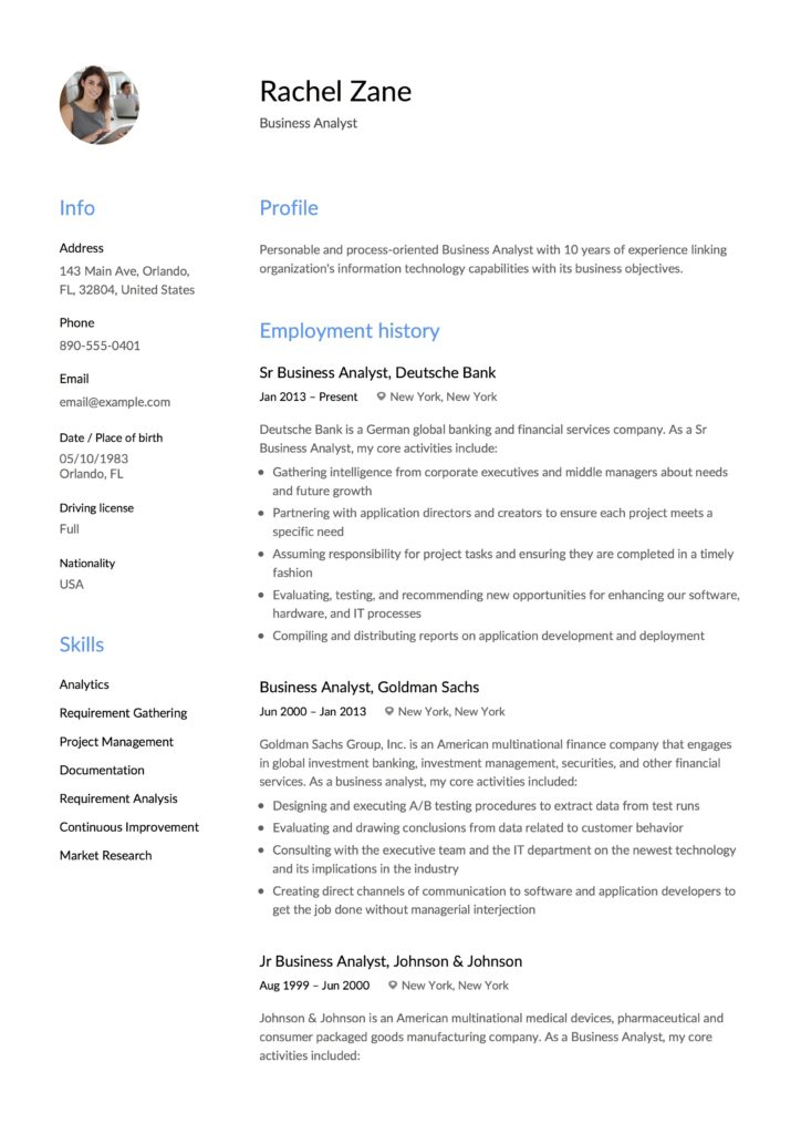 Rachel Zane - Resume Business Analyst design