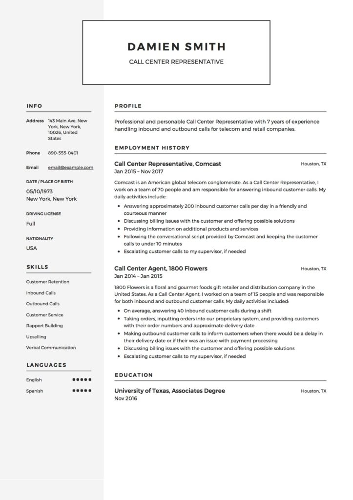 Resume Example Call Center Representative