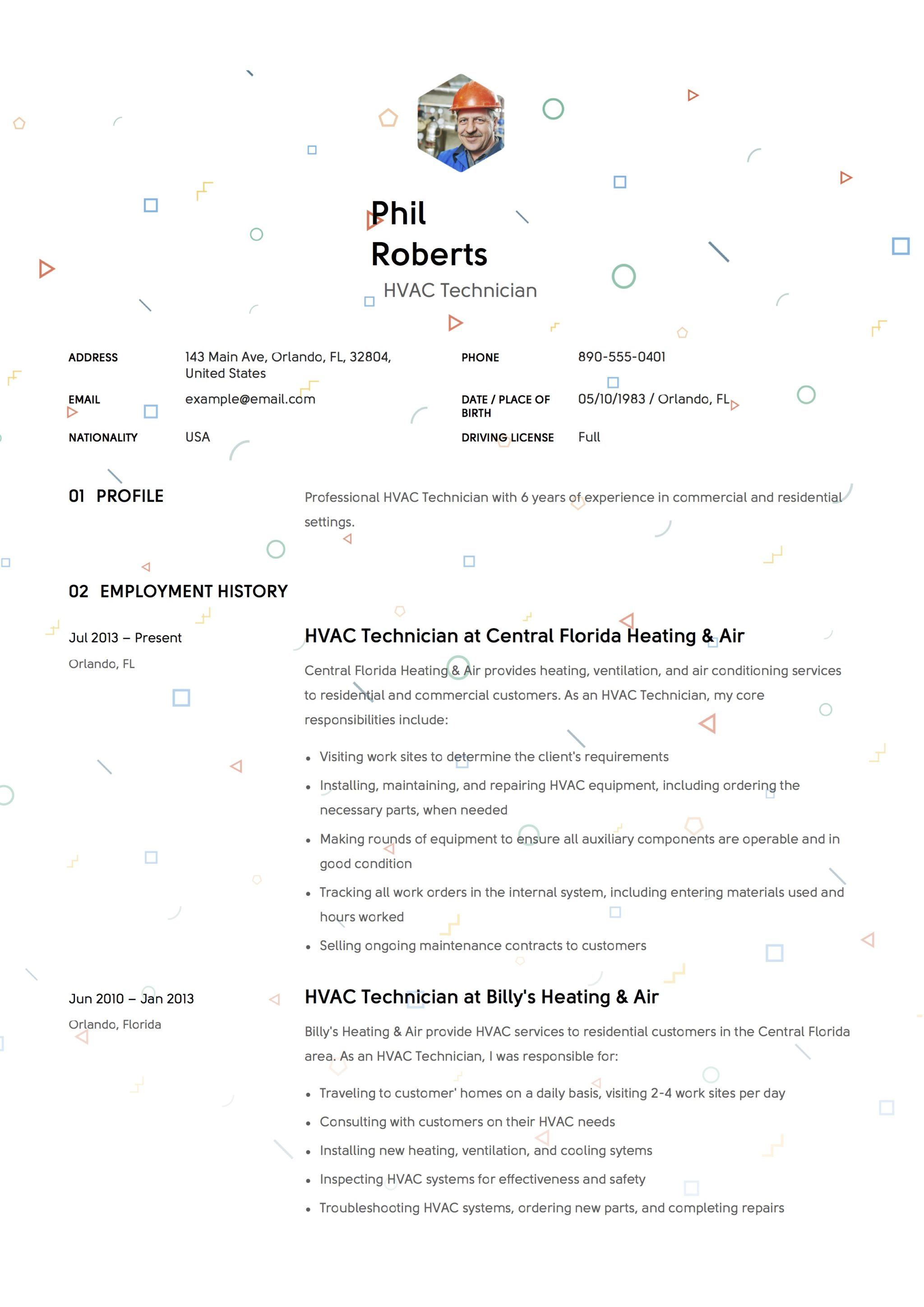 Creative Resume Example HVAC Technician