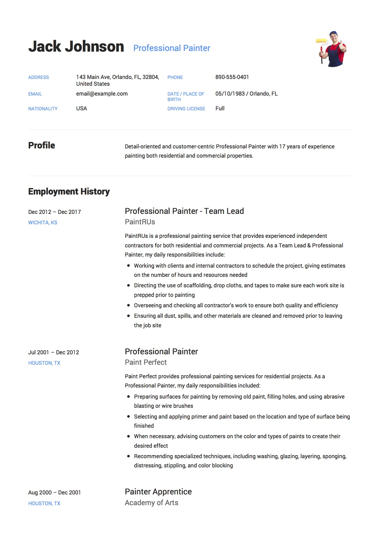 commercial painter resume  u0026 guide   12  samples