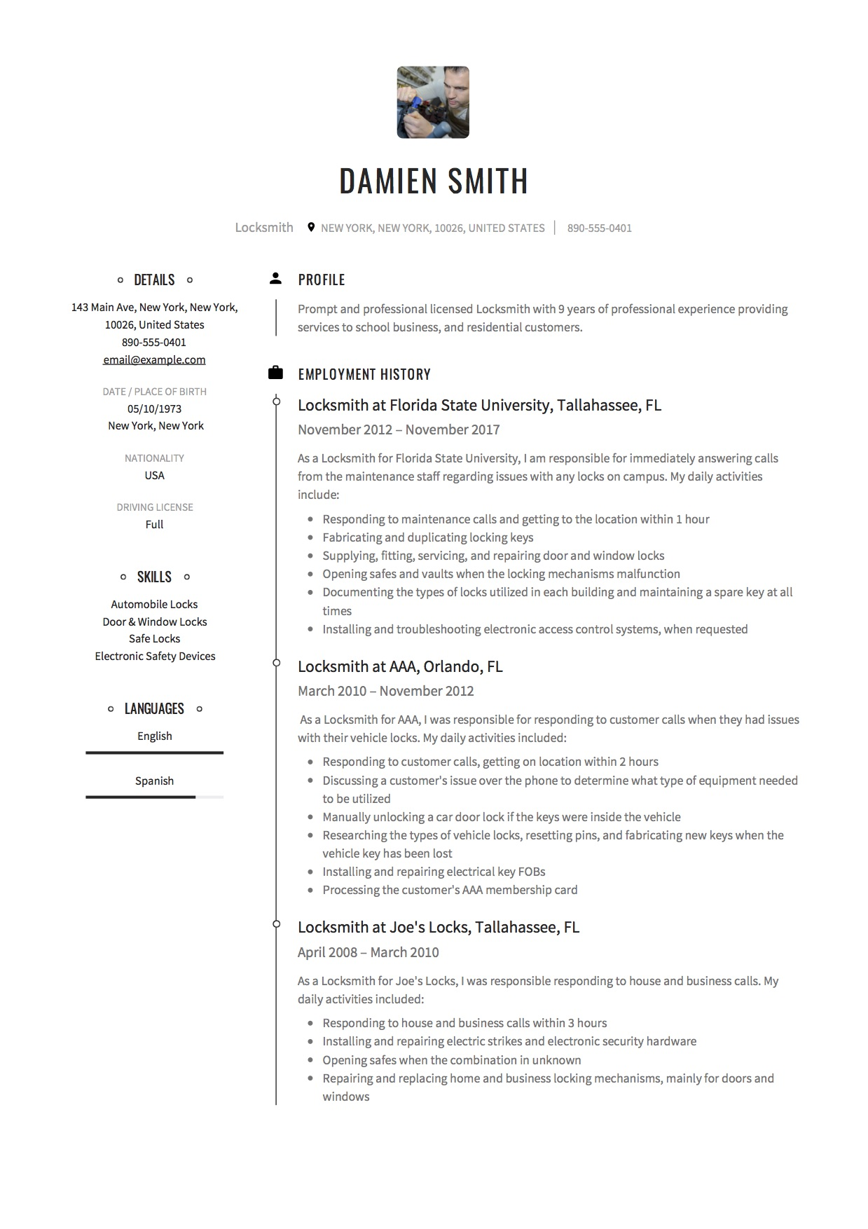 Creative Resume Locksmith