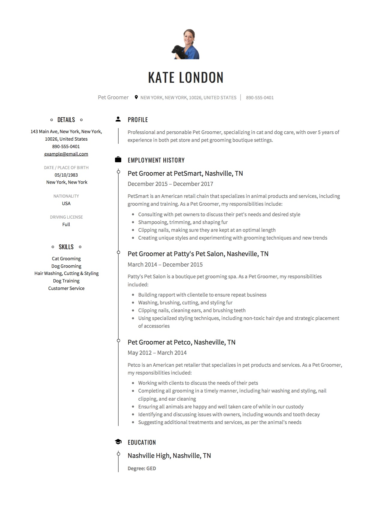pet groomer resume  u0026 writing guide     12 samples