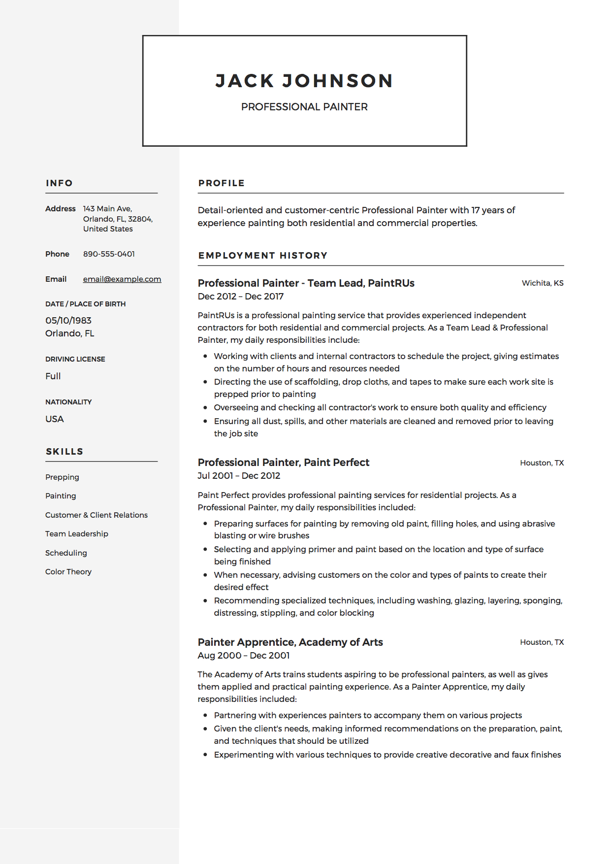 Resume - Professional Painter Example