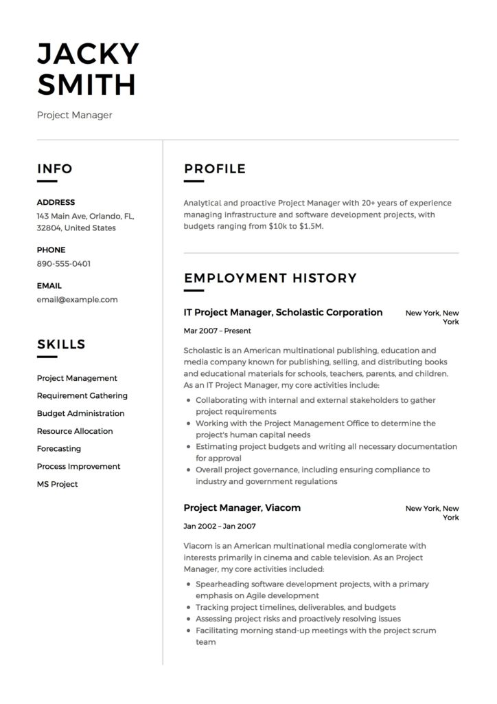 Design Resume Example of a Project Manager