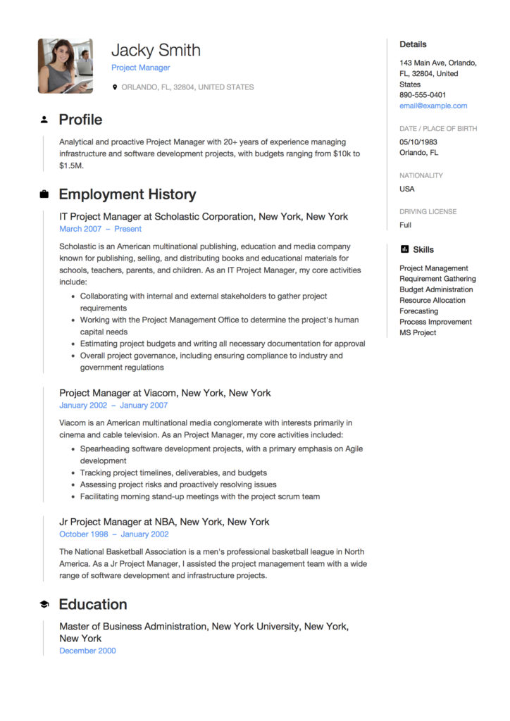 Resume - Project Manager