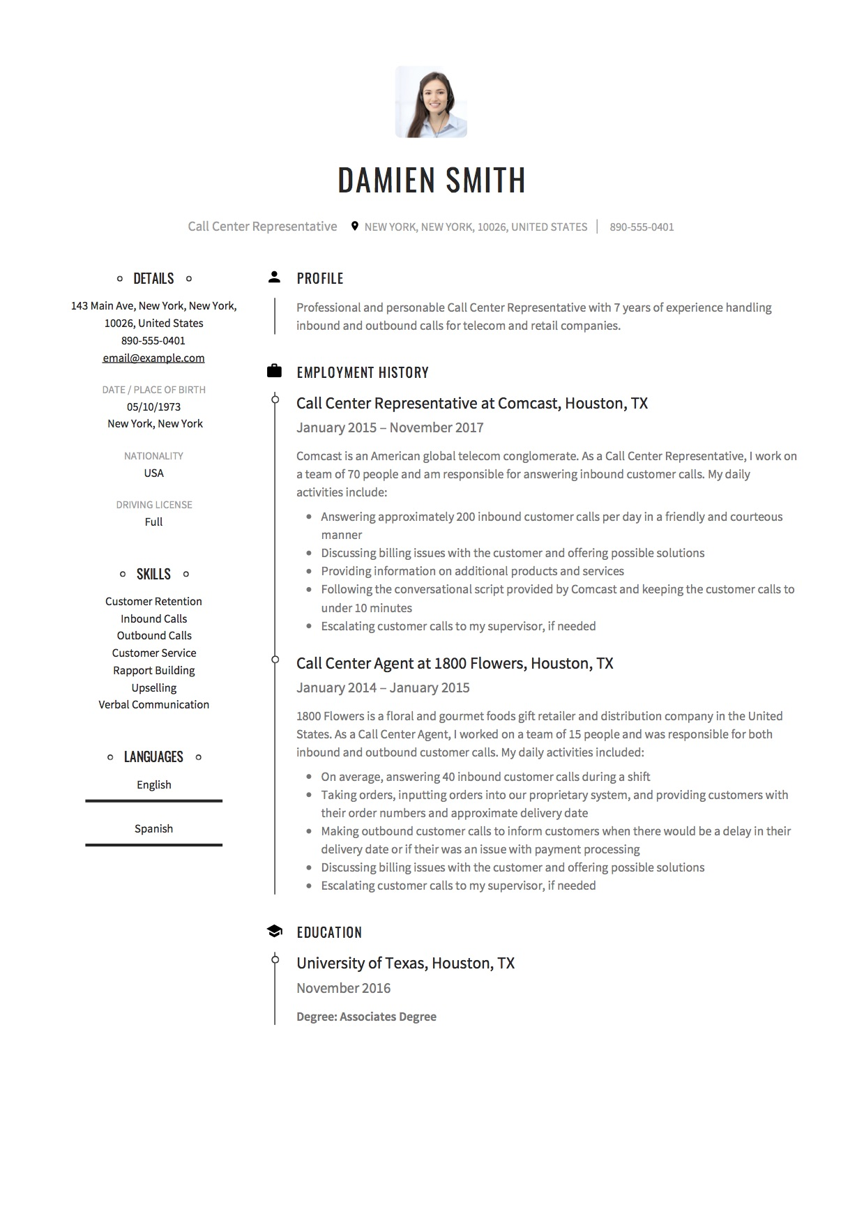 Resume Sample Call Center Representative